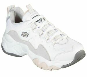 Womens Skechers D'Lites White Black Leather Lace Up Shoes Trainers Size UK 6 39