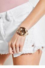 "GUESS Womens U0895L9 ""G"" TWIST Pink/Blush Leather Band Rose Gold Watch"