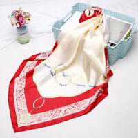 "Fashion Rope Print Hijab Scarf Women Red Soft Satin Square Shawl Wraps 35""*35"""