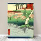 "Beautiful Japanese Landscape Art ~ CANVAS PRINT 36x24""~Hiroshige Chiyogaike Pond"