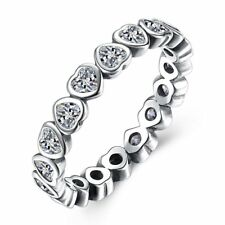 Jana Hearts Solid Sterling Silver Cz Eternity Wedding Bridal Band Ring Ginger Ly