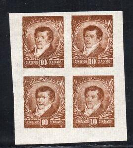 1892 ARGENTINA RARE 10c BELGRANO IMPERF PROOFS BLOCK OF 4, RARITY, WOW