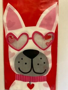 CVS 15-Count Cellophane Bags with Twist Ties - Red Bags Pug Dog Hearts Valentine