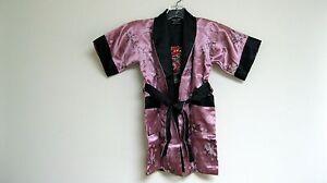 Thai Silk-Blend Child's Robe Kimono Mauve Reversible Dragon/Unisex - S (New)