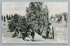 """Carson Indian Agency """"Gathering Pine Nuts"""" RPPC Stewart Nevada—Vintage Photo 50s"""
