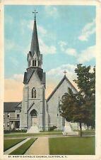 Clayton New York~St Mary's Catholic Church~Lady or Statue on Porch~1915 Postcard