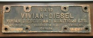 Vivian Diesel Munitions Builders Plate Vancouver BC Engine Ship Tugboat 1940's