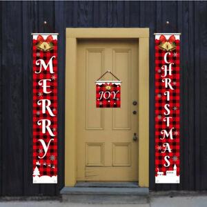 Merry Christmas Snowman Santa Claus Banner Flag Wall Hanging Xmas Party Decor