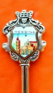 MESSINA ITALY HARBOR CITY  NORTH SICILY GOTHIC PORTALS SOUVENIR PLATED TEA SPOON