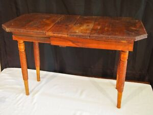 Vintage Victorian half size dolls wood oak table with two leaves turned legs