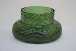 Bohemian-Kralik-Iridescent-Green-Glass-Dimpled   # 1011
