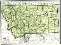 1947 Vintage MONTANA MAP Antique State Map of Montana Gallery Wall Art 7017
