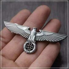 GERMANIA EAGLE Badge - silver steel iron cross waffen ww2 biker pin german z7qq