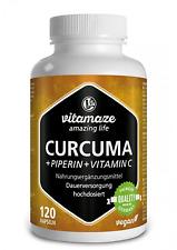 Capsules de curcuma + pipérine et curcumine fortement dosée + vitamine C, 120