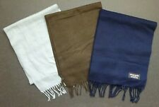 """LOT of 3 SOLID WINTER SCARVES  12"""" x 56"""" -- Acrylic Scarf Scarfs - Long Tasel"""
