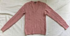 JCrew Light Pink Cashmere Blend V-Neck Cable Knit Sweater Sz S EUC
