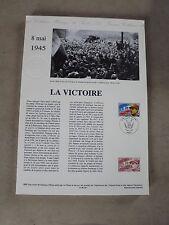 Collection Historique Timbre Poste 1er Jour : 8/05/95 -LA VICTOIRE 8 mai 1945