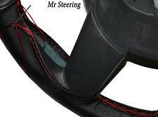 Fits FORD F150 97-03 XL cuir noir véritable Couverture volant rouge coutures