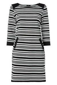 ROMAN MONOCHROME BLACK IVORY CONTRAST STRIPE JERSEY DRESS Sizes 10-20