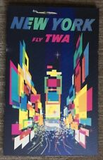 Vintage TWA Poster David Klein New York Airline Travel 1970's Canvas Pin-up NY
