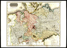 1816 Original Engraved Hand-Colored Map of Germany N. of Mayne & Poland