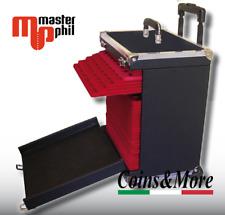 Trolley Master Phil per trasporto di vassoi in floccato rosso monete numismatica