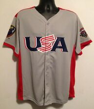 New Lancaster JetHawks Gray USA Button Front SGA Adult Baseball Jersey XL