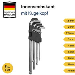 9x Innensechskantschlüssel Set Satz für Inbus Imbus Steckschlüssel Kugelkopf
