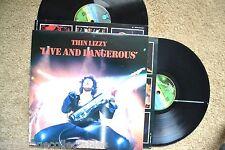 THIN LIZZY Live And Dangerous Rock Vertigo UK Swirl 2 RECORDs LPs VG++
