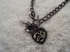 Gunmetal Heart Key Pendant Necklace (A18)