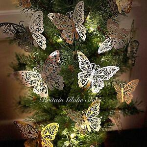 12 PCS Christmas Tree Butterfly Decoration Card Cherish Baubles Wedding Ornament