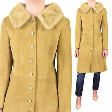 Stunning! 50s Vintage Fitted Coat Rubbed Suede Princess Coat Mink Fur Collar M 8