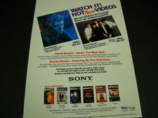 David Bowie Duran Duran watch Hot New Videos original 1984 Promo Display Advert