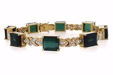 Verde Turmalina y diamante brazalete en 18ct Oro Amarillo - hm1836