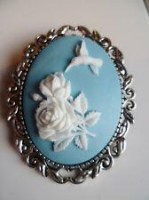 Stunning Blue & White Hummingbird Cameo Brooch Wedding Pin Pagan