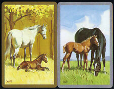 Vintage HORSE Mare Baby Foal Head Portrait SINGLE Swap Playing Cards PAIR #18