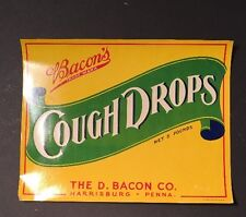Bacon Cough Drops Label Harrisburg, PA The D. Bacon Co New Old Stock