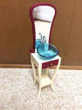 Barbie Doll Fashion Fever Bathroom Vanity Sink Mirror Home Room Decor Furniture
