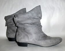 Women's Arizona Grey Suede Gathered Ruffle Fall Winter Ankle Boots Booties 8M