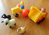 VINTAGE LOT OF SMALL FISHER PRICE TOYS / WELL LOVED WITH SOME DAMAGE