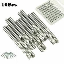 10 Pcs Silver Carbide Single Flute Spiral Flat Nose End Mill CNC Router Bit Tool