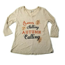 CATO Leaves Fall Autumn Shirt Women's Size Small S Thanksgiving Top 3/4 sleeves
