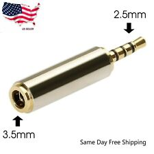 Gold 2.5mm Male to 3.5mm Female Audio Stereo Headphone Jack Adapter Converter