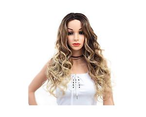 Perruque pour femme synthétiques + filet cheveux long ondulée ombre blond 55cm