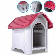 NEW SMALL WEATHERPROOF PLASTIC OUTDOOR GARDEN DOG PUPPY PET SHELTER HOUSE KENNEL