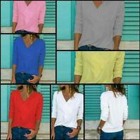Tops Solid Loose Casual Jumper T-Shirt V Neck Womens Long Sleeve Pullover
