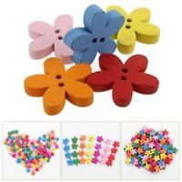 100pcs Mixed Christmas  Flower Sewing Scrapbook Craft Wooden Buttons DIY