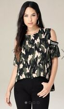 Bebe Camouflage Cold Shoulder Top Black Green Size Large