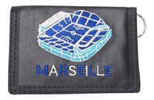 Portefeuille, porte-monnaie brodé Marseille vélodrome avec chaine.