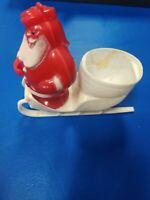 Vintage Hard Plastic Red Santa in White Sleigh Figure Christmas Candy Holder